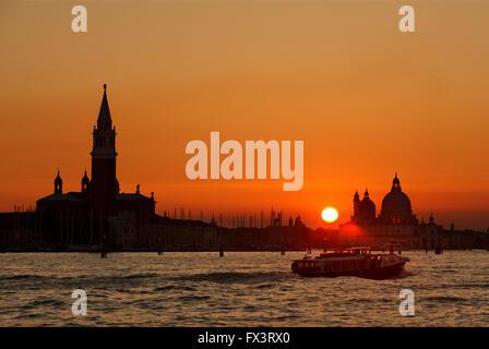 Sunset in Sestiere di Castello, Venice (Venezia) Italy. - Stock Photo