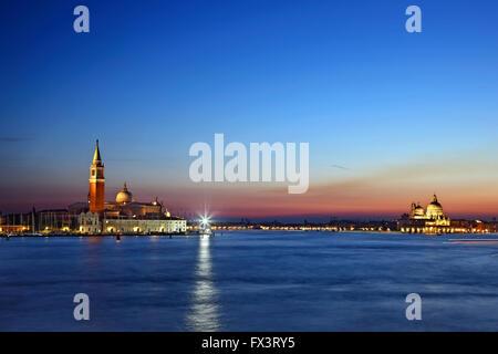 Night falling over the Bacino di San Marco (St Mark's basin), Venice, Veneto, Italy. - Stock Photo