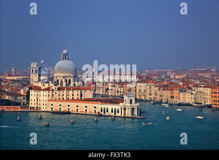 Santa Maria della Salute, Punta della Dogana and the Grand Canal as seen from te belfry of San Giorgio Maggiore, - Stock Photo