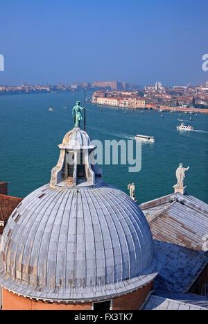 View of the Bacino di San Marco (St Mark's basin) from the belfry ('Campanile') of San Giorgio Maggiore, Venice, - Stock Photo