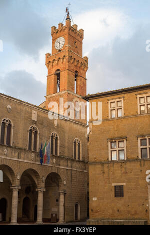 Bell Tower of the Town Hall of Pienza, Italy - Stock Photo