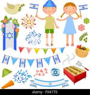 set of illustrations for Israel's Independence Day - Stock Photo