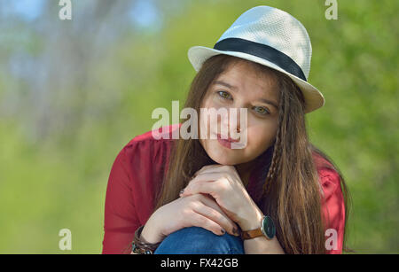 Beautiful girl portrait in forest - Stock Photo