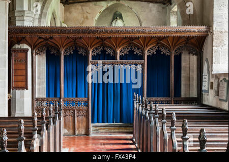 St Stephen's Church, Old Radnor, Powys, UK. The late fifteenth century rood screen is the finest in Wales - Stock Photo