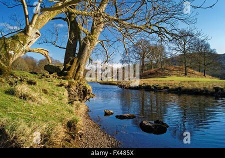 UK,Cumbria,Lake District,River Brathay near Elterwater - Stock Photo