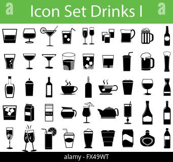 Icon Set Drinks I with 45 icons for different purchase - Stock Photo