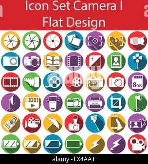 Flat Design Icon Set Camera I with 42 icons for the creative use in web an graphic design - Stock Photo