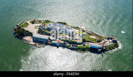 Aerial view, Alcatraz, Alcatraz Iceland with lighthouse in backlight, San Francisco, San Francisco Bay Area, United - Stock Photo