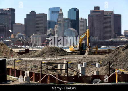 Housing construction site known as Portside at East Pier, East Boston, Massachusetts, USA - Stock Photo