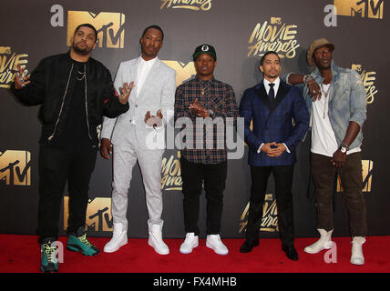 Burbank, CA, USA. 9th Apr, 2016. 09 April 2016 - Burbank, California - O'Shea Jackson Jr., Corey Hawkins, recording - Stock Photo