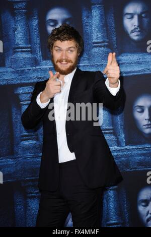 Los Angeles, CA, USA. 10th Apr, 2016. Finn Jones at arrivals for GAME OF THRONES Season 6 Premiere, The Dolby Theatre - Stock Photo
