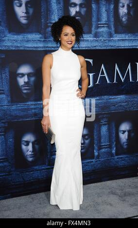 Los Angeles, CA, USA. 10th Apr, 2016. Nathalie Emmanuel at arrivals for GAME OF THRONES Season 6 Premiere, The Dolby - Stock Photo