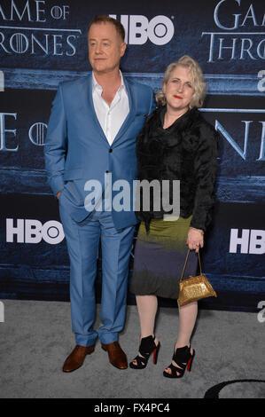 Los Angeles, California, USA. 10th April, 2016. Actor Owen Teale & actress wife Sylvestra Le Touzel at the season - Stock Photo