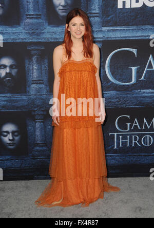 Hollywood, CA, USA. 10th Apr, 2016. Hannah Murray. Arrivals for the Premiere Of HBO's ''Game Of Thrones'' Season - Stock Photo