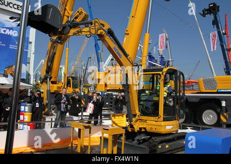 Munich, Germany. 11th Apr, 2016. An excavator made by Xuzhou Construction Machinery Group is exhibited on Bauma - Stock Photo