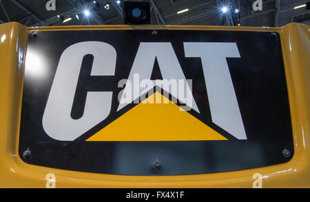 Munich, Germany. 11th Apr, 2016. The logo of the company Caterpillar CAT pictured at the building fair Bauma in - Stock Photo