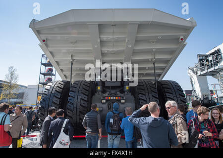 Munich, Germany. 11th Apr, 2016. A dump truck by the company Liebherr pictured at the building fair Bauma in Munich, - Stock Photo