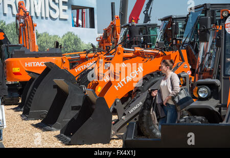 Munich, Germany. 11th Apr, 2016. Construction vehicles by Hitachi pictured at the building fair Bauma in Munich, - Stock Photo