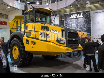 Munich, Germany. 11th Apr, 2016. A B45E dump truck by the company Bell pictured at the building fair Bauma in Munich, - Stock Photo