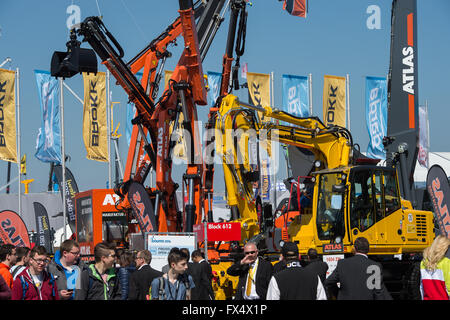 Munich, Germany. 11th Apr, 2016. Various construction vehicles pictured at the building fair Bauma in Munich, Germany, - Stock Photo