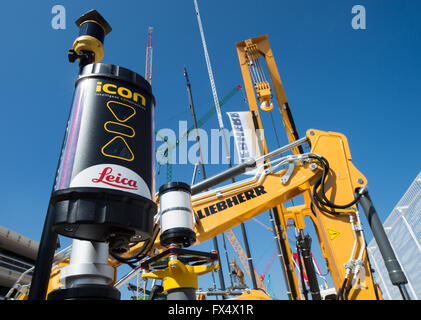 Munich, Germany. 11th Apr, 2016. A 3D machine controller by Leica Geosystems pictured at the building fair Bauma - Stock Photo