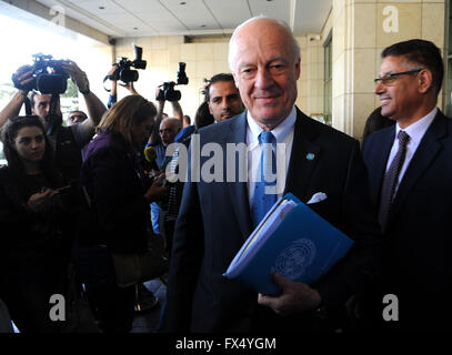 Damascus. 11th Apr, 2016. United Nations envoy to Syria Staffan De Mistura(C) arrives in Four Seasons Hotel in Damascus, - Stock Photo