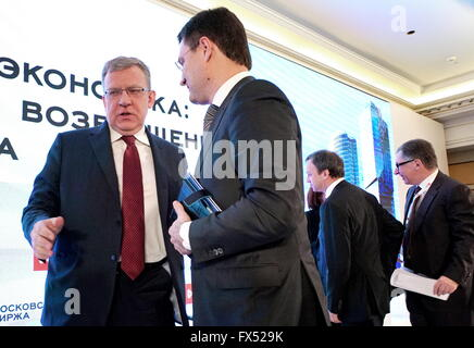MOSCOW, RUSSIA. APRIL 12, 2016. Moscow Exchange Supervisory Board Chairman Alexei Kudrin, Russia's Energy Minister - Stock Photo