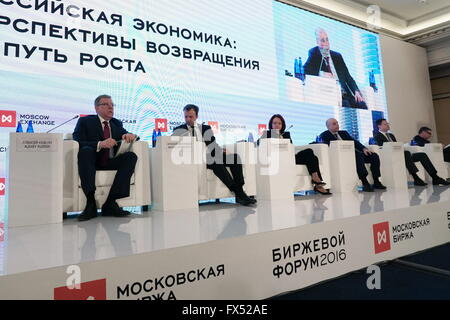 MOSCOW, RUSSIA. APRIL 12, 2016. Moscow Exchange Supervisory Board Chairman Alexei Kudrin, Russia's Deputy Prime - Stock Photo