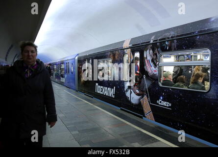 Moscow, Russia. 12th Apr, 2016. A space themed train at Polezhayevskaya station of the Moscow Metro. The train was - Stock Photo