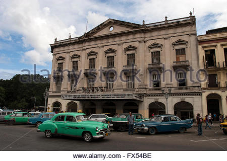 The Payret Cinema With Classic Cars And People On Paseo Del Prado