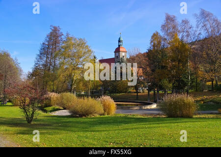 Jonsdorf Park und Kirche im Zittauer Gebirge - Jonsdorf Park  and church in Zittau Mountains - Stock Photo
