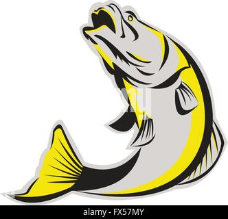 Illustration of a jumping barramundi or Asian sea bass (Lates calcarifer) on isolated background done in retro style. - Stock Photo