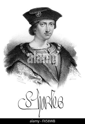 Charles VIII, Karl VIII., called the Affable, 1470-1498, King of France - Stock Photo
