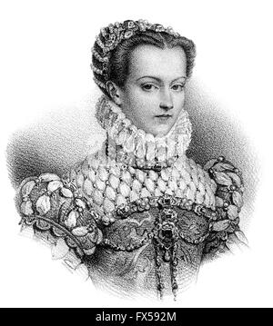 Elisabeth of Austria, 1554-1592, Queen of France as the wife of King Charles IX - Stock Photo