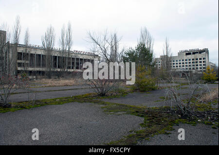 The abandoned city of Pripyat, Ukraine. Pripyat was abandoned following the Chernobyl nuclear disaster. - Stock Photo