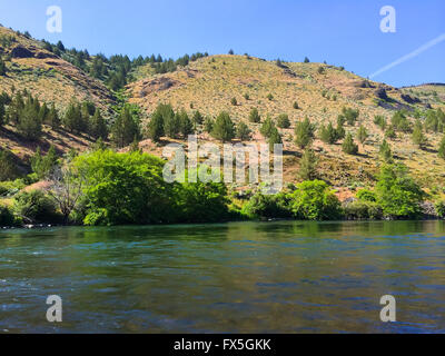 Nature scenic from the Lower Deschutes River wild and scenic canyon section on the water. - Stock Photo
