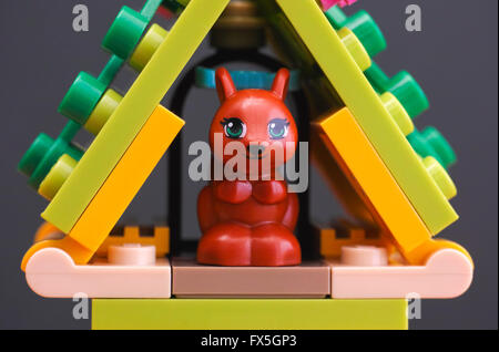 Tambov, Russian Federation - April 02, 2016 Lego Friends Squirrel in its house. Studio shot. - Stock Photo