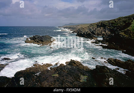 Atlantic seas of Achill Island, County Mayo, West Coast of Ireland - Stock Photo