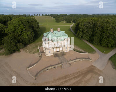 Aerial view of the Hermitage Palace located in Dyrehaven north of Copenhagen in Denmark - Stock Photo