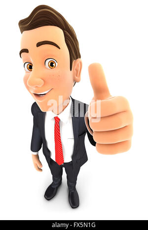 3d businessman positive pose with thumb up, isolated white background - Stock Photo