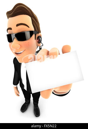 3d security agent holding company card, isolated white background - Stock Photo