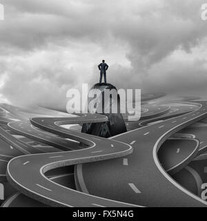 Lost business concept as a businessman standing on a rock with a group of twisted 3d illustration roads and pathways - Stock Photo