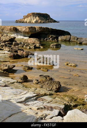 Cape Drepano & Geronisos Island, Agios Georgios, Cyprus - Stock Photo