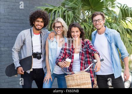 Portrait of happy friends - Stock Photo