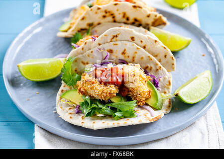 Tacos with chicken in panko breadcrumbs - Stock Photo