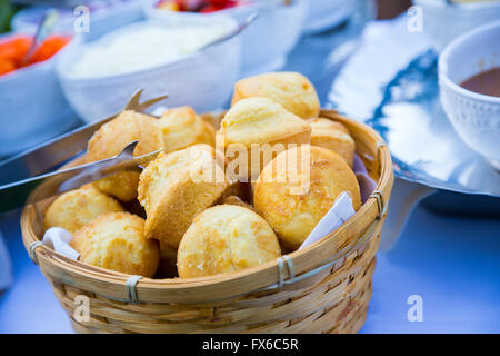 Wedding reception buffet food includes this bread for dinner. - Stock Photo