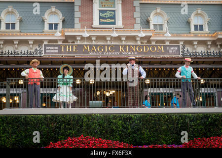 The opening rope drop ceremony to mark the opening of The Magic Kingdom theme park at Walt Disney World in Orlando, - Stock Photo