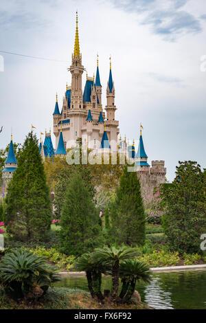 Cinderellas castle in Magic Kingdom theme park in Walt DIsney World, Orlando, Florida - Stock Photo