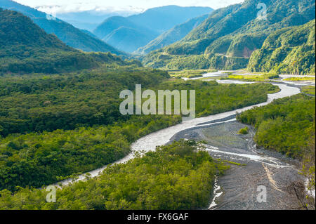 From Andes to Amazon, View of the tropical rainforest, Pastaza province in the Oriente of Ecuador - Stock Photo