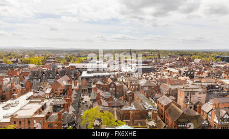 Chester aerial - panoramic view of  Chester city from Chester Cathedral tower